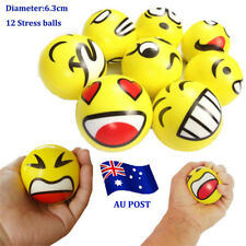 12x YELLOW STRESS BALLS Hand Relief Squeeze Toy Reliever Antistress Smiley EA