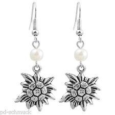 1Paar Damen Ohrschmuck Ohrringe Ohrhänger Edelweiß Perlen Antiksilber 5.2x2cm