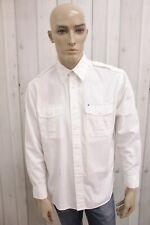 TOMMY HILFIGER Uomo Taglia XL Camicia Bianco Cotone Shirt Casual Manica Lunga