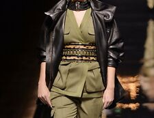 BALMAIN Leopard Print Calf Hair Black Leather Gold Embellished Waist Belt 4/36/S