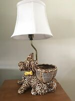 Vintage Dog Lamp Pottery Scottie or Schnauzer with Planter, Shade & Finial WORKS