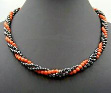 Vintage Handmade Haematite & Pink Glass Beads Twisted 3 Strand Ladies Necklace