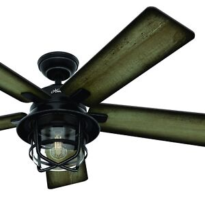 Hunter Fan 54 inch Outdoor Weathered Zinc Ceiling Fan with Light Kit and Remote