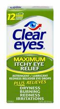 Clear Eyes Maximum Itchy Eye Relief Drops 0.5 OZ Bottle up to 12 Hour Lubriant