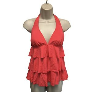 Ann Taylor Tiered Ruffle Pink Tankini Top Swimsuit Size S NWT $79