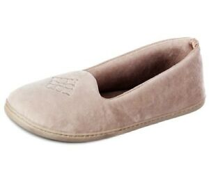Tan Taupe Embroidered Velor Satin Dearfoam Classic Slippers Ladies NEW XL