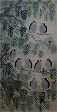 "Excellent Chinese 100% Hand Painting & Scroll ""Birds & Tree"" By Lin Fengmian 林风眠"