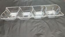 4 X Clear Plastic compart Serving Plate / Platter 39 X 13 Cm For Serving Shering