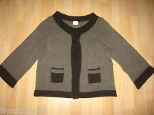 CAMAIEU - Gilet en laine marron, manches 3/4 - Taille 40 - TBE !!