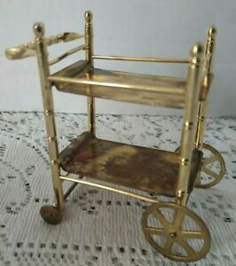 Vintage Brass Dollhouse Miniature Tea Cart with Removable Trays