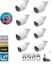 8pcs HD TVI/CVI/AHD/ANALOG 1080P  Small Bullet  Camera 2.4 MP  2.8mm Lens,