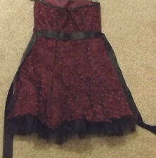 LADIES MORGAN & CO MAROON & BLACK FLORAL STRAPLESS PARTY DRESS SIZE 3/4 UK 6 ?