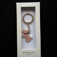 RADLEY ENAMEL PAGEANT LIGHT PINK, BLUSH DOG KEYRING - PRESENTATION BOX NEW