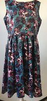 LINDY BOP Size 16 Turquoise Floral Dress Sleeveless Fit N Flare *Missing Belt*