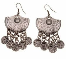 TRIBAL FUSION BELLY DANCE BOHO FESTIVAL TURKISH COIN ETHNIC EARRINGS JEWELLERY