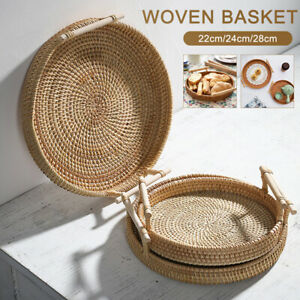 Rattan Bread Basket Round Woven Tea Tray With Handles For Serving Dinner.