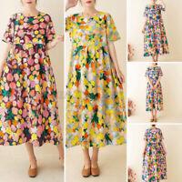 Womens Summer Bohemia Short Sleeve Printed Casual Loose Tunic Kaftan Baggy Dress