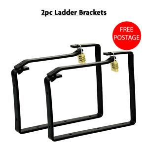 2pc Universal Lockable Ladder Storage Hooks Brackets Tools