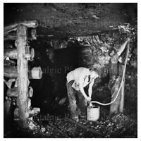 PHOTO 13 MINING SCENE INSIDE  OF CANNOCK CHASE COAL MINE STAFFORDSHIRE c1890