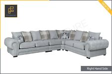 NEW EXTRA EXTRA LARGE Chesterfield Verona CORNER SOFA Scatter Back Fabric Grey
