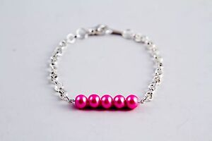 Simple Bead Bar Bracelet or Anklet, Glass Pearls, Various Colors and Lengths