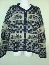 Northern Reflections Womens Sz L Nordic Style Navy Gray Cardigan Ski Sweater