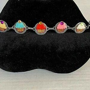Cupcake Charm Bracelet Upcycled Vintage Resin