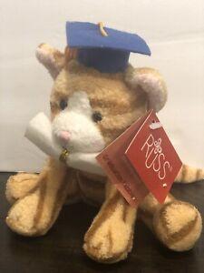 "Russ Berrie Tabbies Graduation Tabby Cat 5"" Plush Beanie Orange Stripe Kitten"