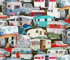 Retro- Vintage Caravan - Packed Caravans- Camping -Holidays- Fabric -per 1/2 Yd