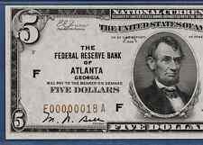 1929  $5 FRBN  ATLANTA W/SUPER S/N  ♚♚F00000018A♚♚    PMG CH UNC 63 EPQ