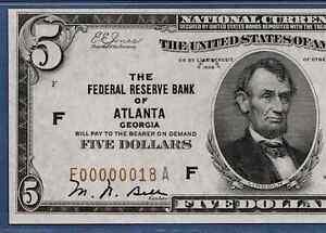 1929  $5 FRBN ATLANTA TWO DIGIT S/N  ♚♚F00000018A♚♚    PMG CH UNC 63 EPQ