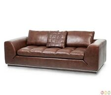 Michael Amini Mia Bella Espresso Cordovan Modern Genuine Leather Sofa by AICO