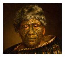 Maori New Zealand Tattoo Man, vintage art by Gottfried Lindauer,  A4 Poster