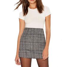 HaoDuoYi Women Plaids High Waist Short Mini Skirt Party Clubwear Pencil Skirts