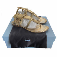 Prada Calzature Donna Leather Sandals Size 40.5 US 11 Gold Platino Nappa Silk