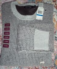 Nautica Men's Long Sleeve Round Neck Gray  Pullover Sweater XLarge XL NWT $89