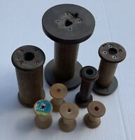 Lot of 8 Antique Vintage Wooden Textile Bobbins Spools Used
