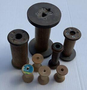 Lot of 8 Antique Vintage Wooden Textile Bobbins Spools Used