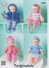 KING COLE 4000 DOLLS CLOTHES ORIGINAL KNITTING PATTERN - TO FIT 40CM DOLL - DK