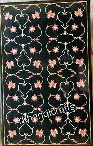 30 x 48 Inches Marble Dining Table Top Hand Made Hallway table with Floral Work