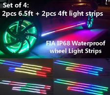 x4PCS CHASING Underglow Kit 2PCS 4FT + 2PCS 6.5FT Light Strips Plate Lights IP68