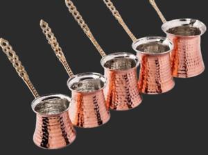 5 Sizes Set Handmade Hammered Copper Traditional Turkish Coffee Maker Moka Pot