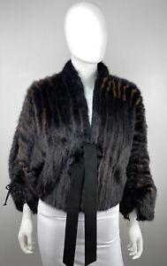 VALENTINO Black Ranch Mink Real Fur Coat Bomber Bolero Jacket