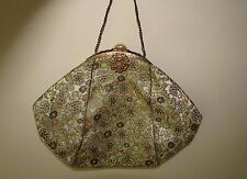 ANTIQUE FRENCH VICTORIAN GILT FRAME NIGHT HAND BAG PURSE SILK FLORAL CLOTH