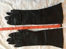 Vintage Leather Black Lined Dress Gloves Size 6.5