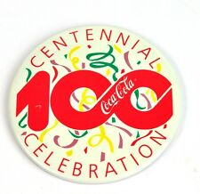 Coca Cola Coke 8 cm Pin Botón Divisa Pin de solapa EE.UU. - 100 Año Celebración