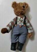 VINTAGE HEIRLOOM COCA COLA TEDDY BEAR FULLY JOINTED SUSPENDERS PLUSH 18""
