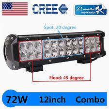 12''in 72W LED Off road Work Light Spot Flood Lamp 12V24V boat Truck Driving UTE