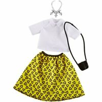 New Mattel DTW56 Barbie Fashions #2 White Top And Yellow Triangle Pattern Skirt