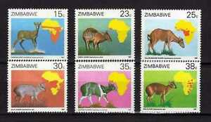14841) ZIMBABWE 1987 MNH** Animals and Population maps